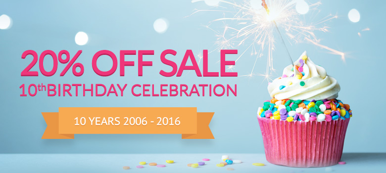 20% Off 10th Birthday Sale Special!
