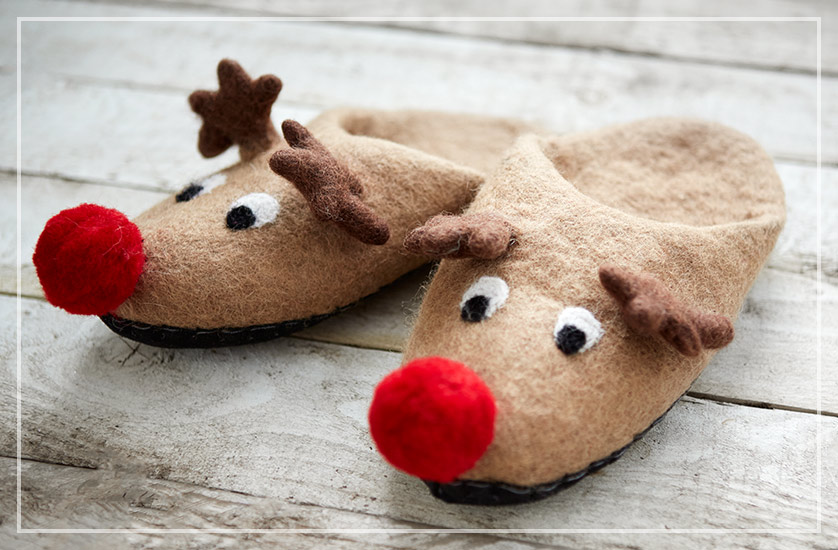 Gift of the Week - Rudolf Reindeer Fair Trade Christmas Slippers