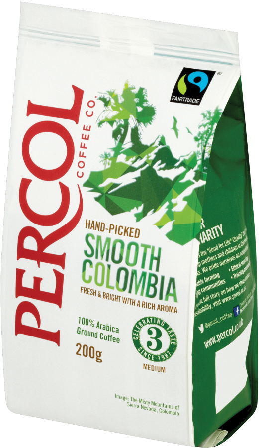 Percol Fairtrade Smooth Colombia Coffee 200g