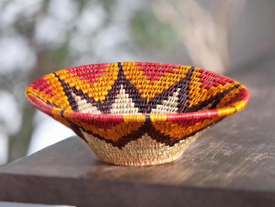 Garden Handwoven Orange Lavumisa Stitched Basket