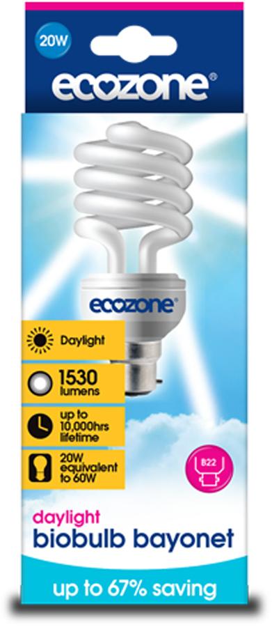 Image of Ecozone Bayonet Cap Daylight Biobulb - 20 Watt - 60W Equivalent