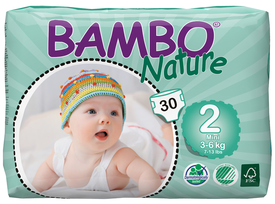 Image of Bambo Nature Disposable Nappies - Mini - Size 2 - Pack of 30
