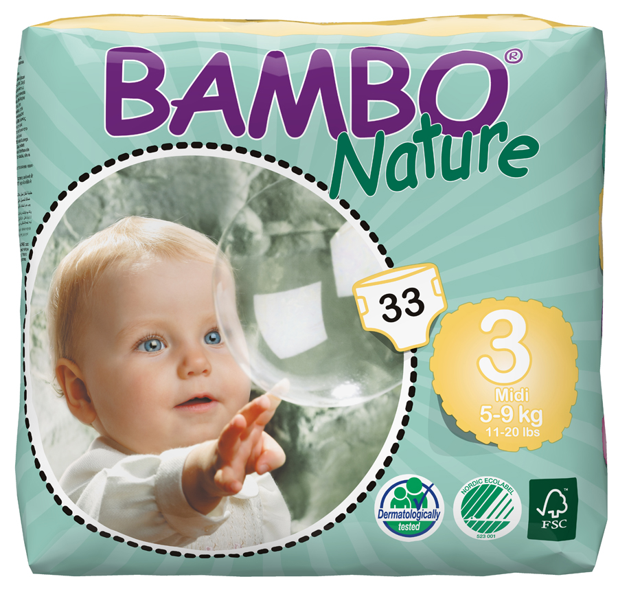 Image of Bambo Nature Disposable Nappies - Midi - Size 3 - Pack of 33