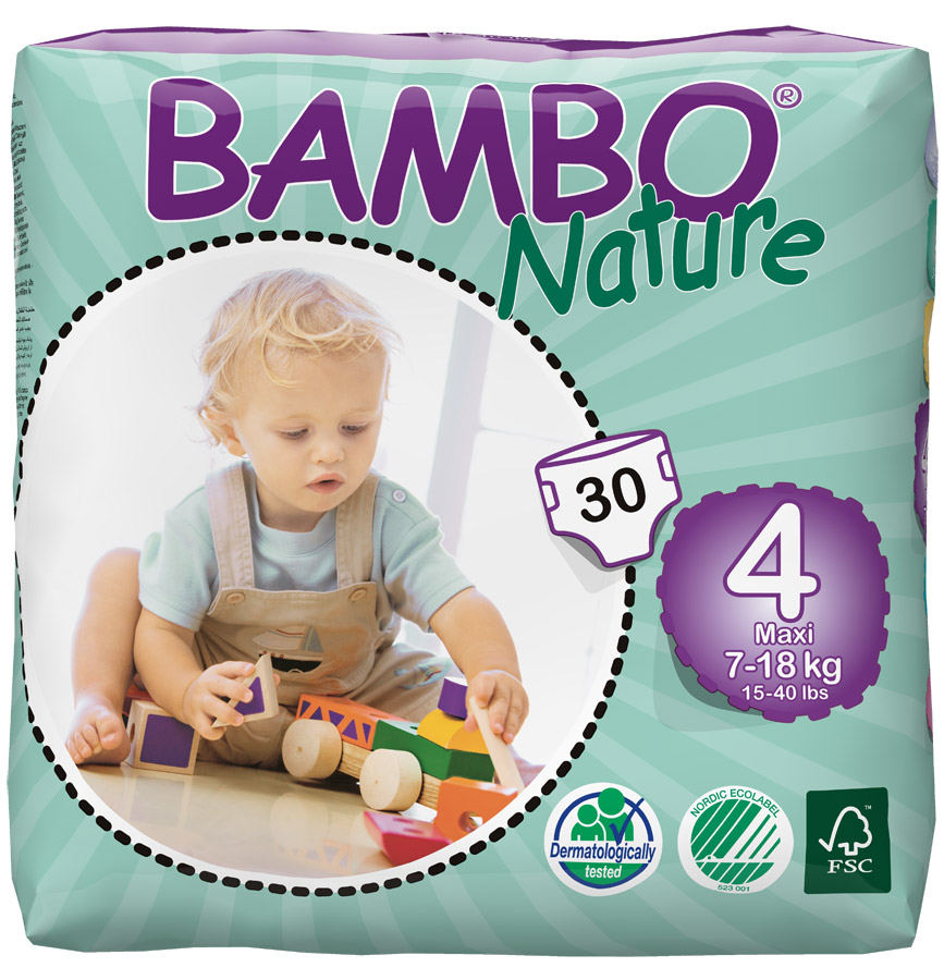 Image of Bambo Nature Disposable Nappies - Maxi - Size 4 - Pack of 30