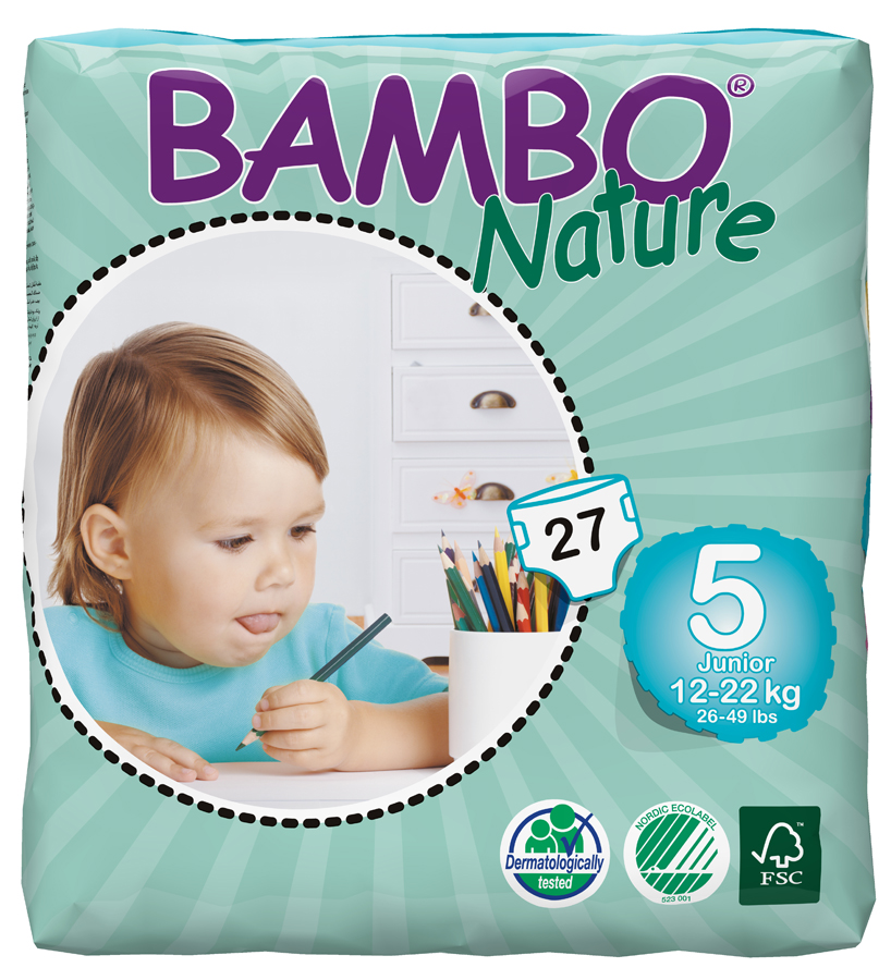 Image of Bambo Nature Disposable Nappies - Junior - Size 5 - Pack of 27
