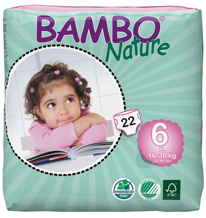 Image of Bambo Nature Disposable Nappies - XL PLus - Size 6 - Pack of 22