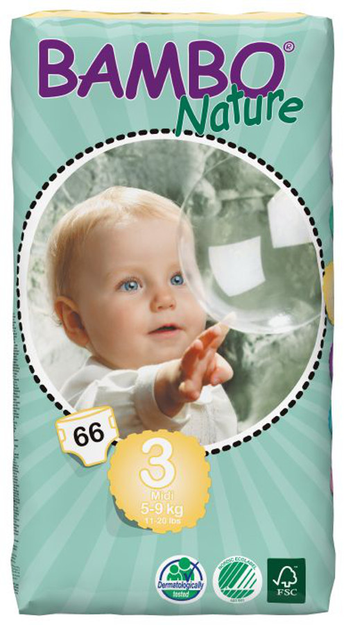 Image of Bambo Nature Disposable Nappies - Midi - Size 3 - Jumbo Pack of 66