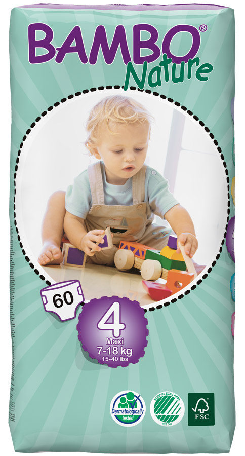 Image of Bambo Nature Disposable Nappies - Maxi - Size 4 - Jumbo Pack of 60
