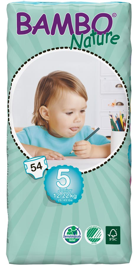 Image of Bambo Nature Disposable Nappies - Junior - Size 5 - Jumbo Pack of 54