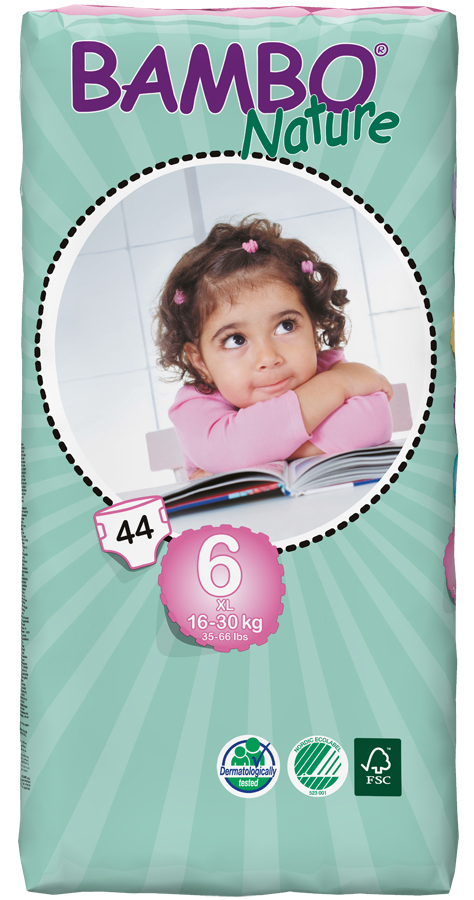 Image of Bambo Nature Disposable Nappies - XL PLus - Size 6 - Jumbo Pack of 44