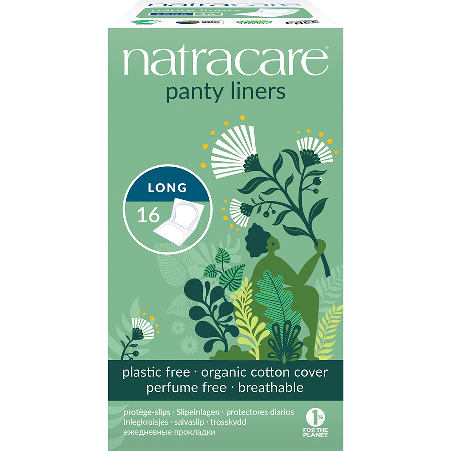 Natracare Organic Cotton Individually Wrapped Panty Liners - Long - Pack of 16