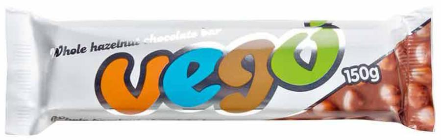 Vego Whole Hazelnut Chocolate Bar - 150g