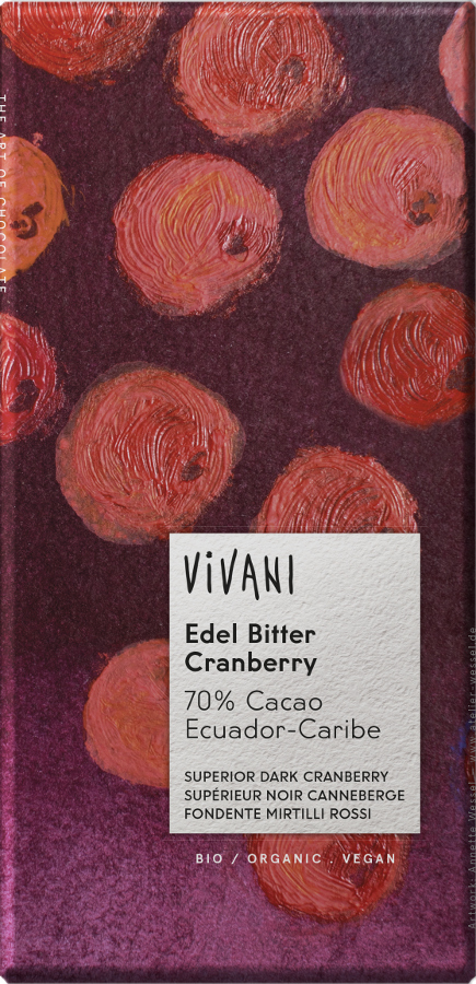 Vivani Organic Dark Chocolate & Cranberry - 100g