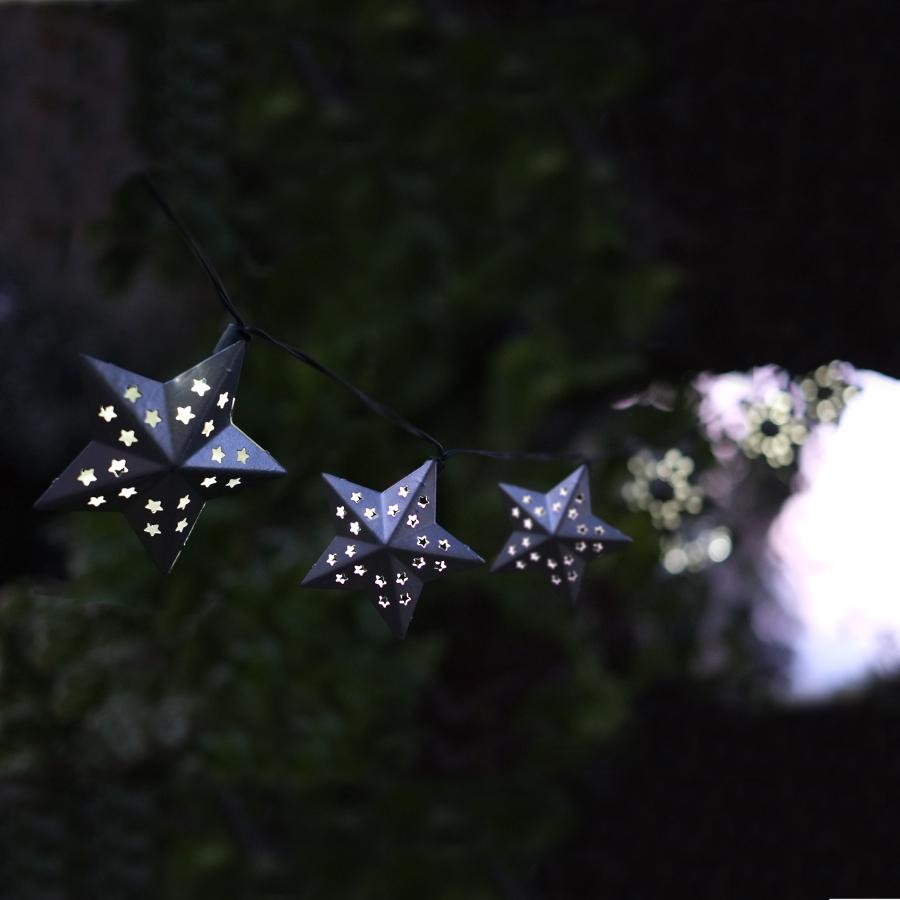 Solar Metal String Lights : Solar Powered Metal Star String Lights - 10 - Smart Garden