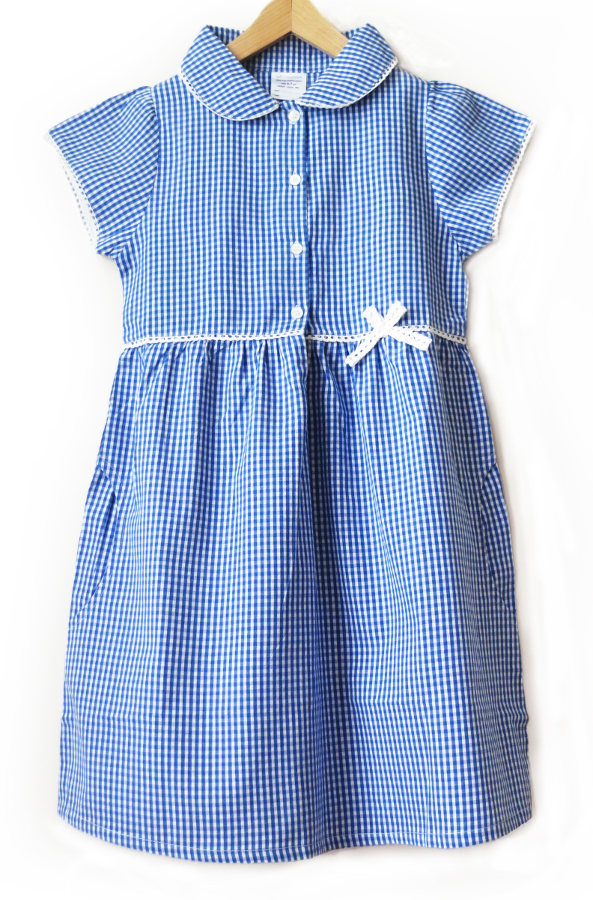 Image of Girls Gingham Checked Summer School Dress - Blue - Infant