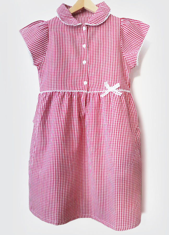 Image of Girls Gingham Checked Summer School Dress - Red - Infant