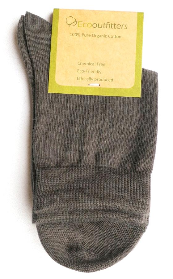100% Organic Cotton Ankle School Socks - Grey
