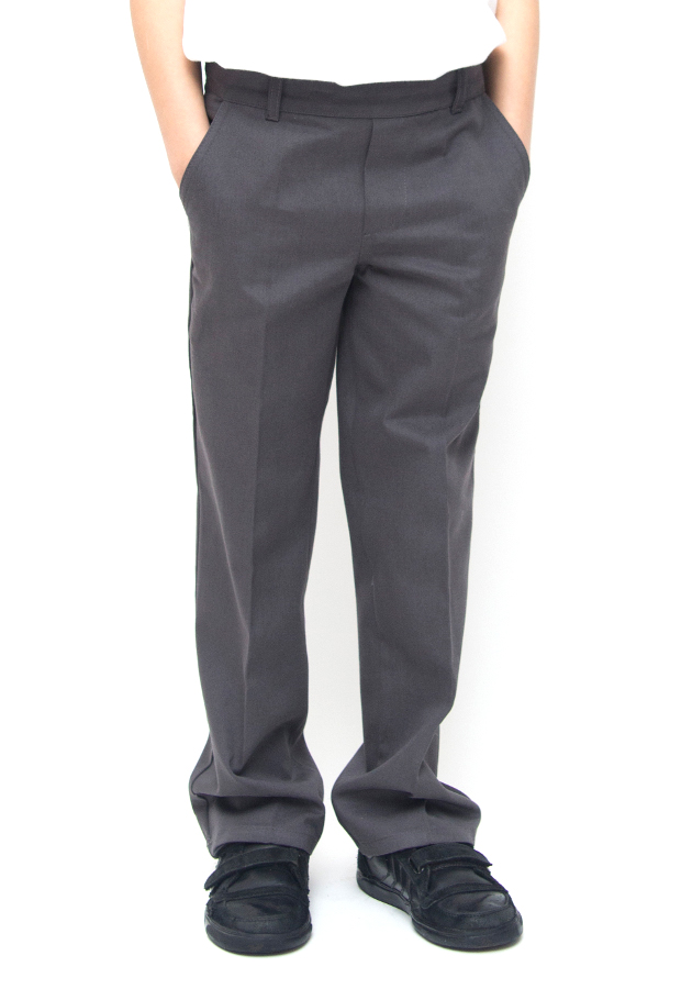Image of Boys Classic Fit School Trousers With Adjustable Waist - Grey - Infant