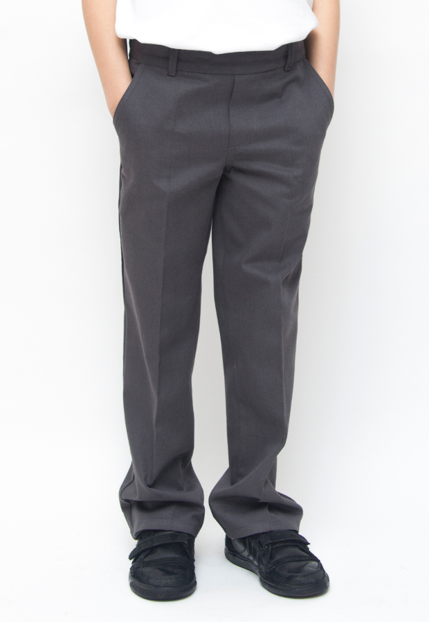 Image of Boys Classic Fit School Trousers With Adjustable Waist - Grey - Junior