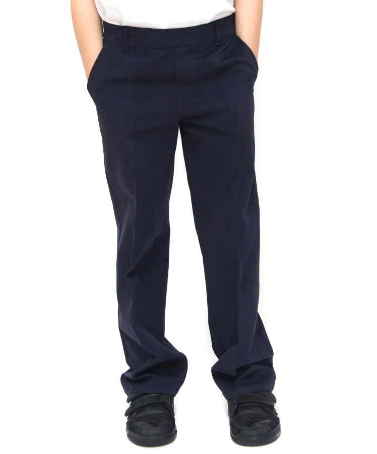 Image of Boys Classic Fit School Trousers With Adjustable Waist - Navy - Infant