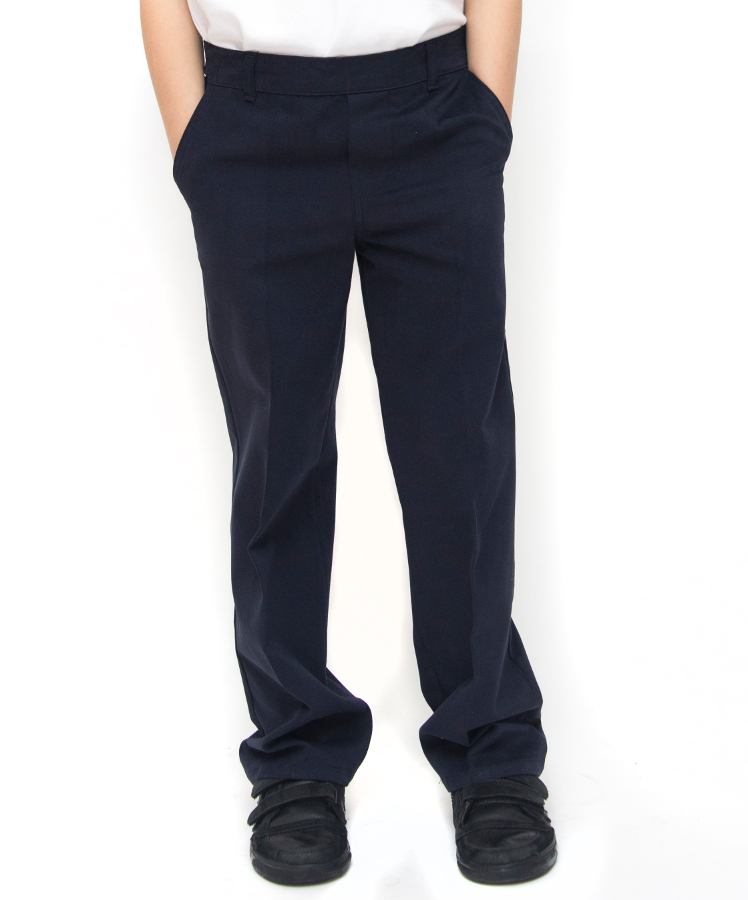Image of Boys Classic Fit School Trousers With Adjustable Waist - Navy - Junior