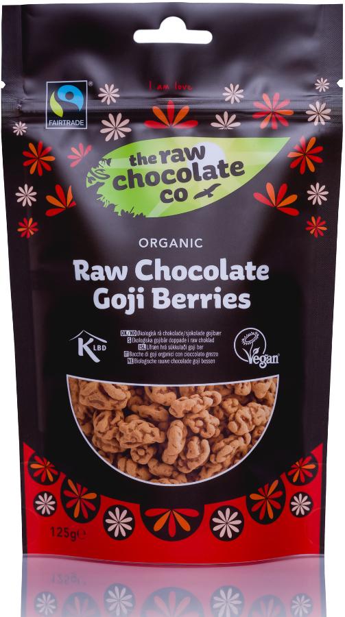 The Raw Chocolate Co Chocolate Coated Goji Berries - 125g