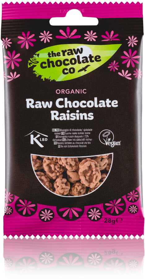 The Raw Chocolate Co Chocolate Coated Raisins Snack Pack - 28g