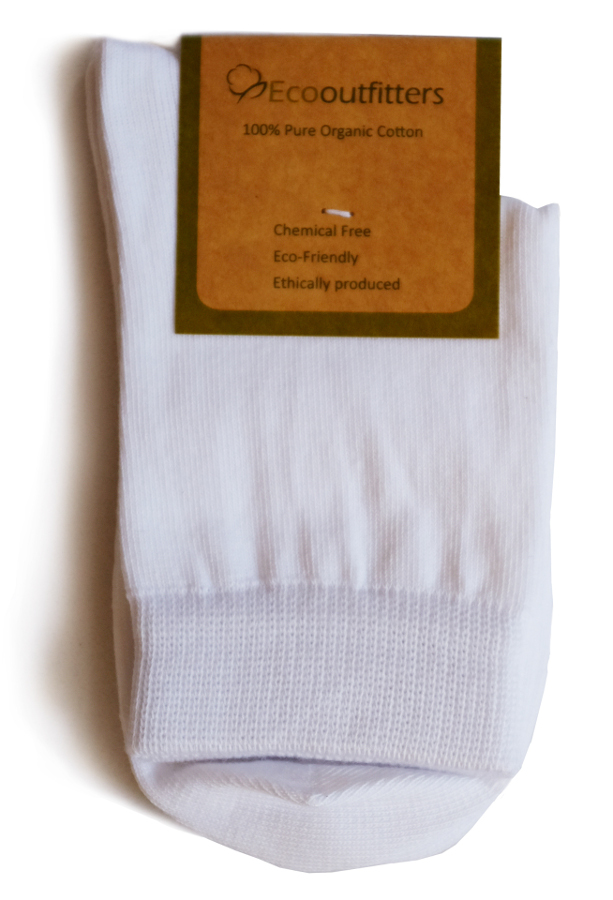 Image of 100% Organic Cotton Ankle School Socks - White