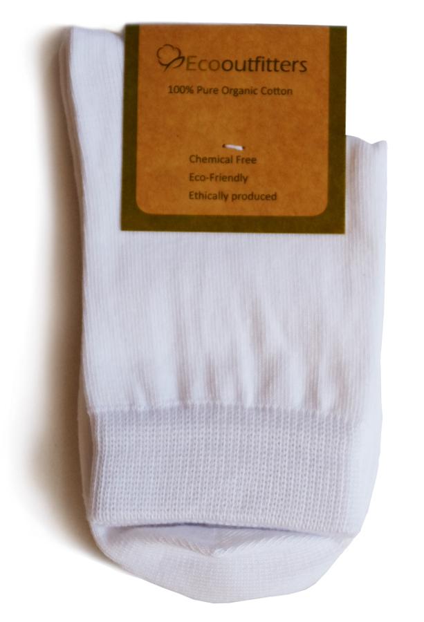100% Organic Cotton Ankle School Socks - White
