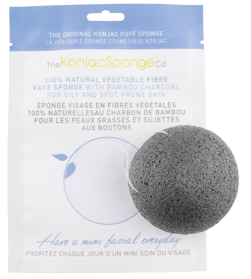 Natural Konjac Sponge with Bamboo Charcoal - Facial Puff Sponge