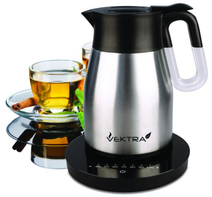 Vektra Vacuum Eco Kettle 4 with Temperature Control  1.5 Ltr Brushed Stainless Steel