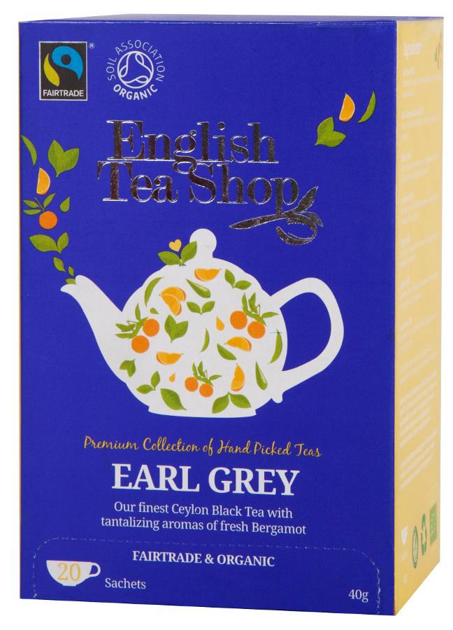 English Tea Shop Organic and Fairtrade Earl Grey Tea - 20 Bags - Sachets