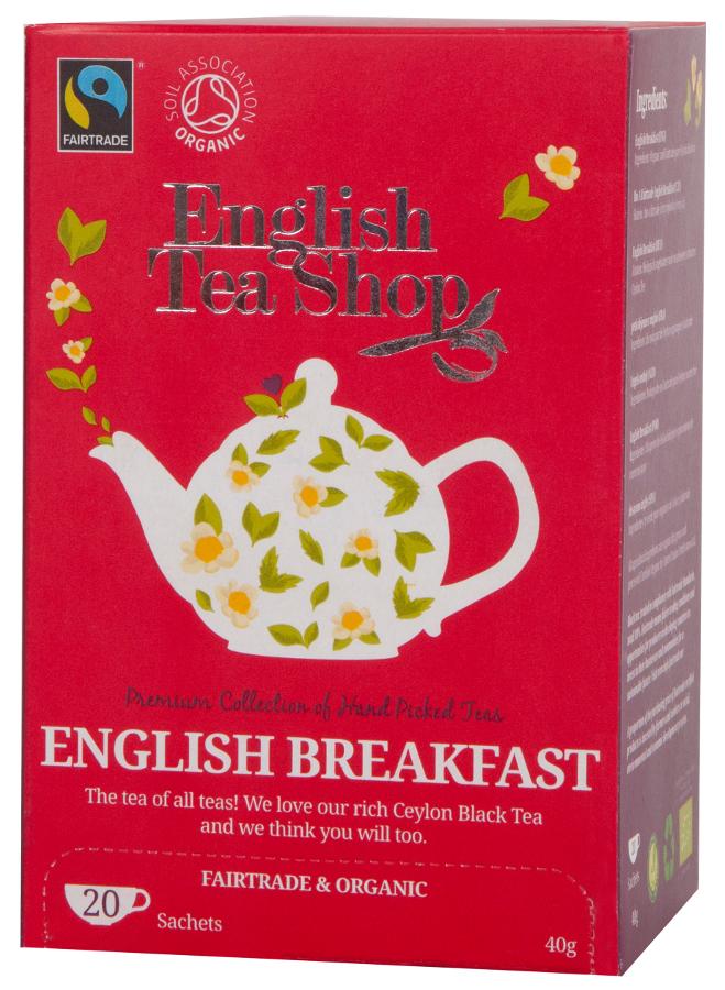 English Tea Shop Organic and Fairtrade English Breakfast Tea - 20 Bags - Sachets