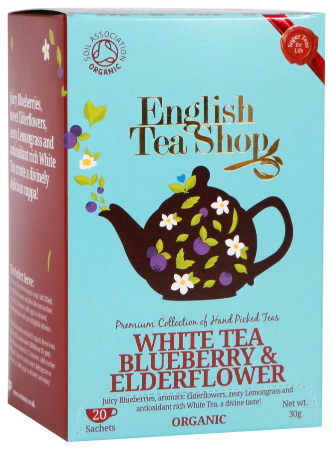 English Tea Shop Organic Blueberry & Elderflower Super White Tea - 20 Bags - Sachets