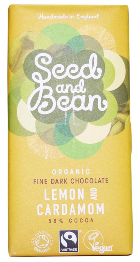 Seed and Bean Organic Fine Dark Chocolate Bar - Lemon & Cardamom - 85g