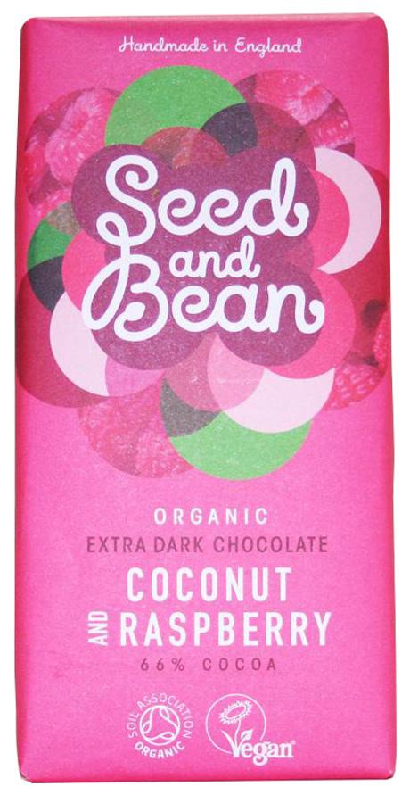 Seed and Bean Organic Extra Dark Chocolate Bar - Coconut & Raspberry - 85g