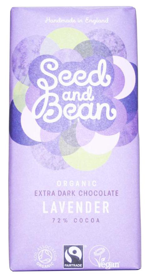 Seed and Bean Organic Extra Dark Chocolate Bar - Lavender - 85g