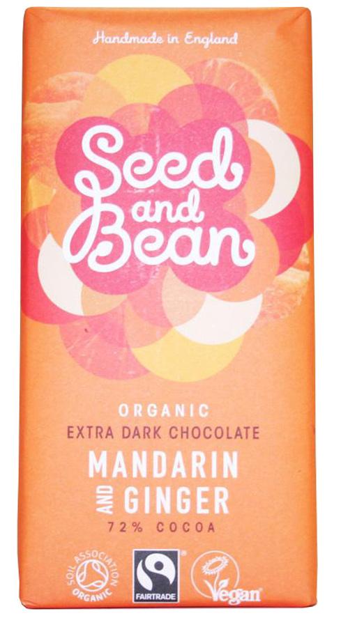 Seed and Bean Organic Extra Dark Chocolate Bar - Mandarin & Ginger - 85g
