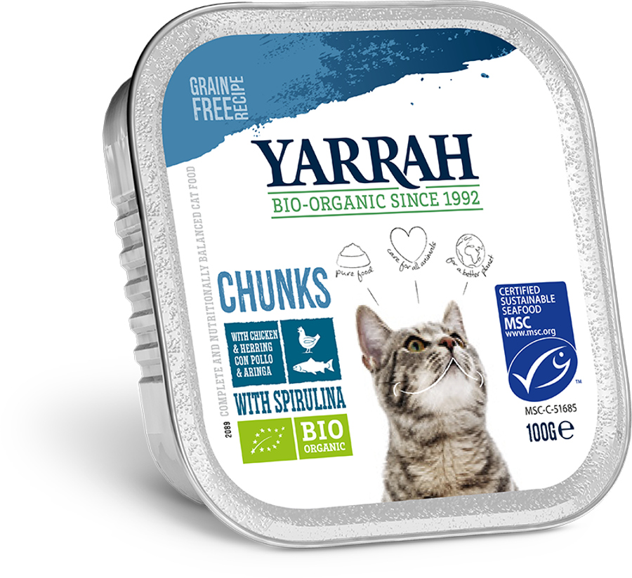 Yarrah Organic Cat Food - Chicken & Mackerel Chunks With Spirulina 100g