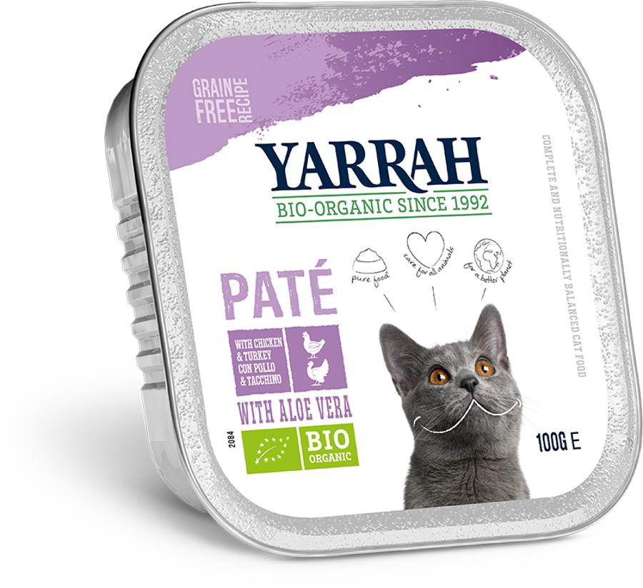 Yarrah Organic Cat Food - Chicken & Turkey Pate With Aloe Vera 100g