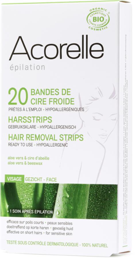 Acorelle Ready to use Strips - Face - Aloe Vera & Beeswax - 20 strips