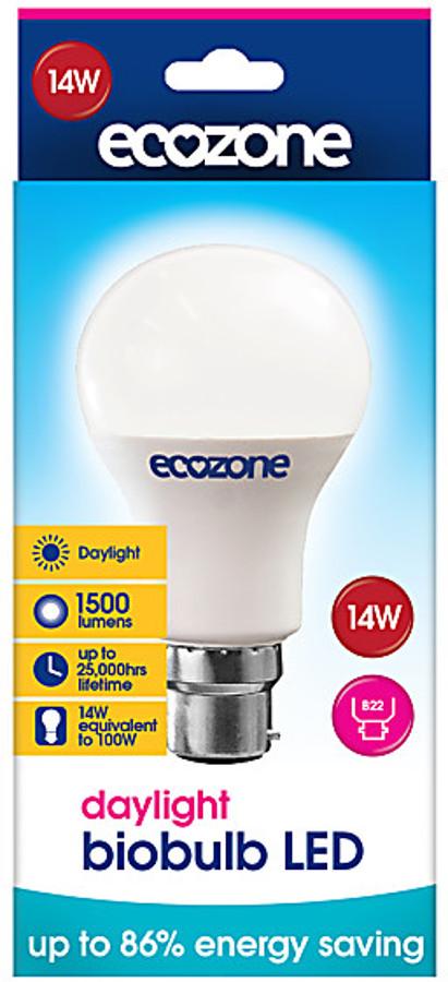 Ecozone B22 Daylight LED Biobulb - 14 Watt - 100 Watt Equivalent