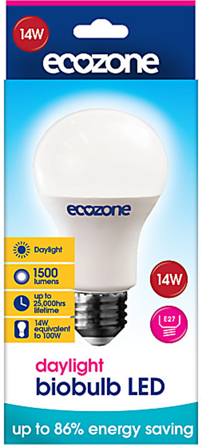 ecozone e27 daylight led biobulb 14 watt 100 watt equivalent. Black Bedroom Furniture Sets. Home Design Ideas