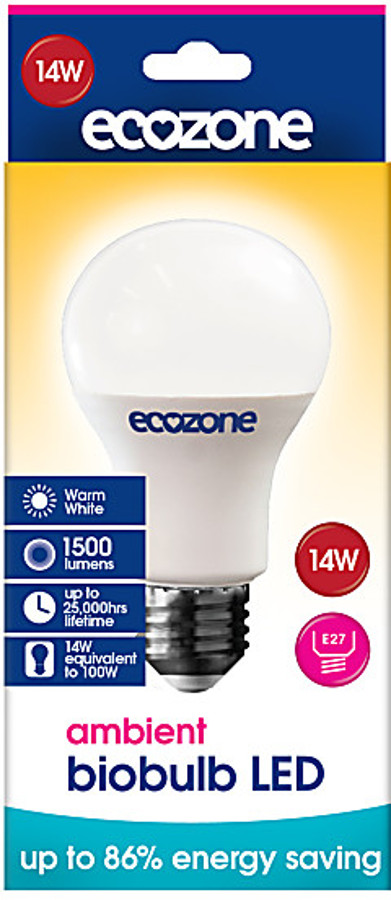 ecozone e27 ambient led biobulb 14 watt 100 watt equivalent ecozone. Black Bedroom Furniture Sets. Home Design Ideas