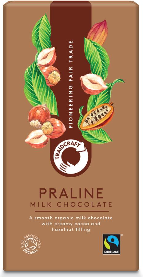 Traidcraft Fairtrade Organic Milk Chocolate with Praline - 100g