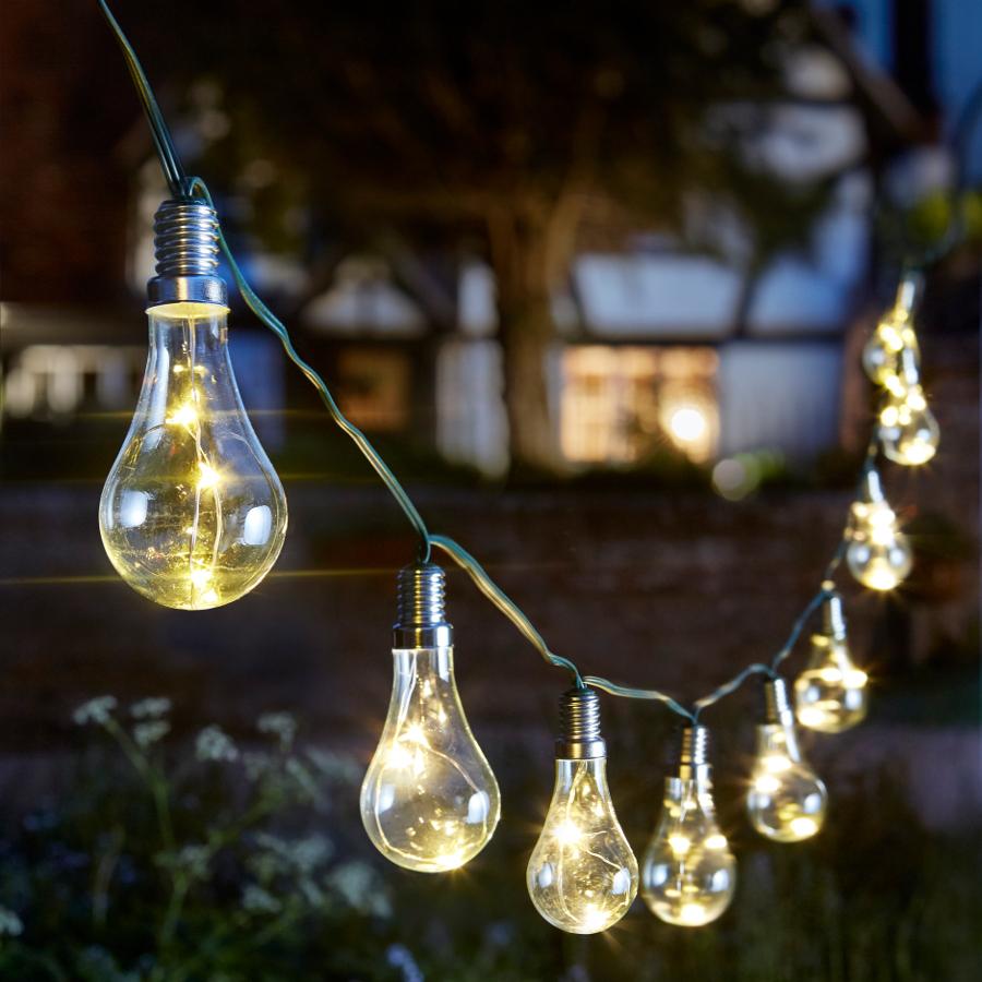 Solar Powered Eureka Lightbulb String Light - 10 - Smart ...
