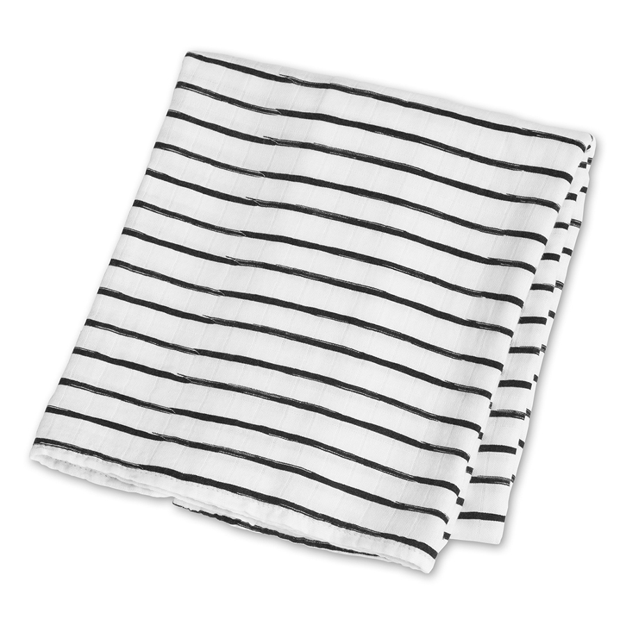 Lulujo Bamboo Swaddle Blanket - Black Messy Stripes