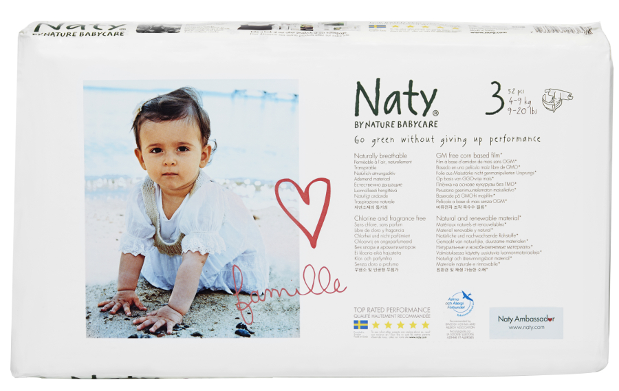 Image of Naty by Nature Nappies Economy Pack - Midi Size 3 - Pack of 52