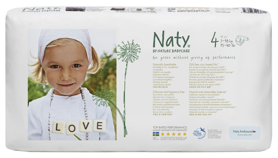 Image of Naty by Nature Nappies Economy Pack - Maxi Size 4 - Pack of 46
