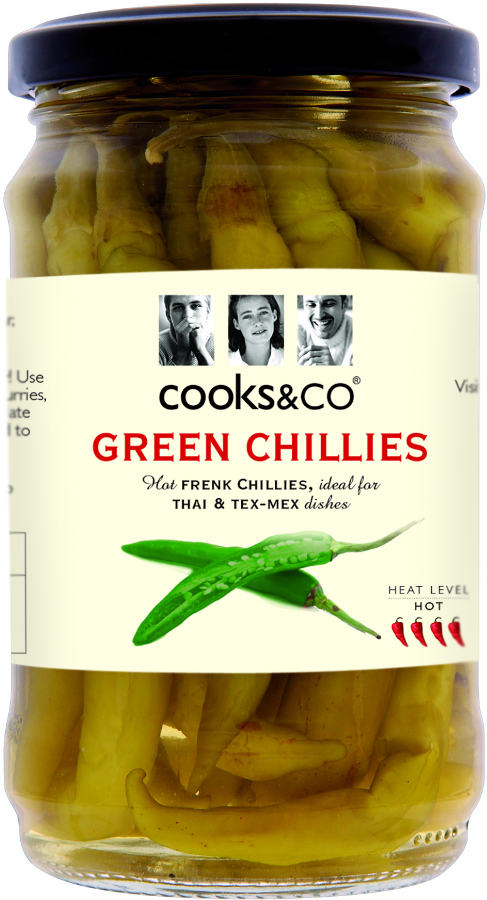Cooks & Co Whole Green Chillies - 300g